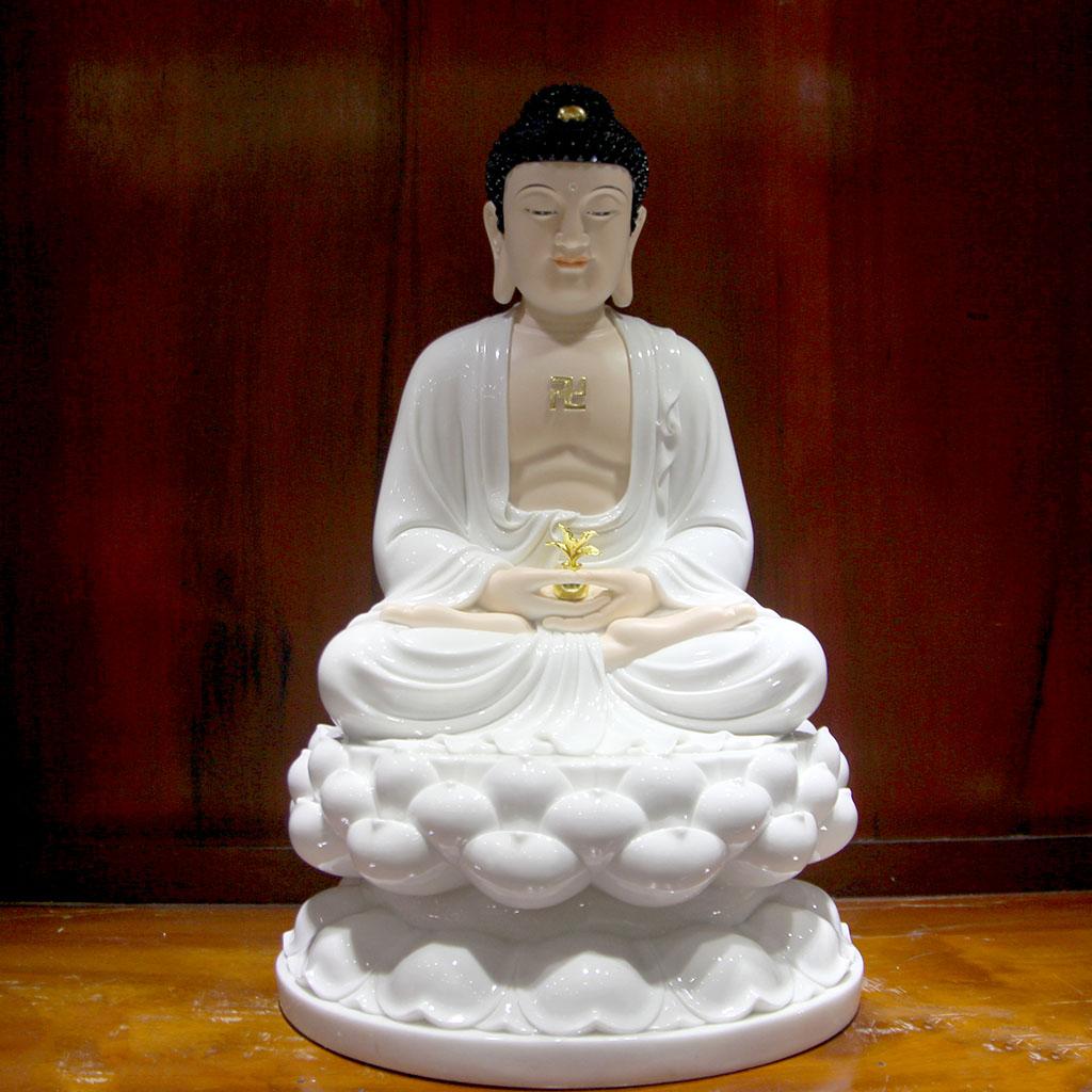 Đức Phật Dược Sư tay phải ôm bình thuốc, kết Ấn Định