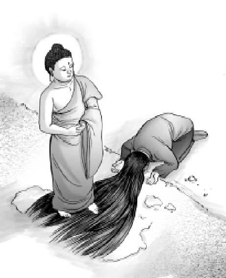 Nhu Đồng (tiền thân Đức Phật Thích Ca) trải tóc trên vũng bùn lầy trên đườngcúng dường Đức Nhiên Đăng Phật