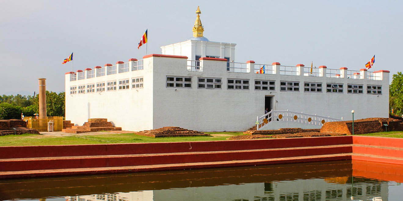 Maya Devi Temple right on the side of the sacred pond in Lumbini garden