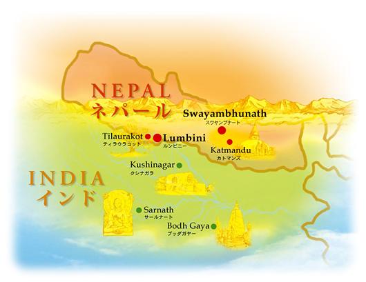 Bản đồ vùng Népal, gần biên giới vùng Bắc Ấn Độ - Map of Nepal and borders of North India