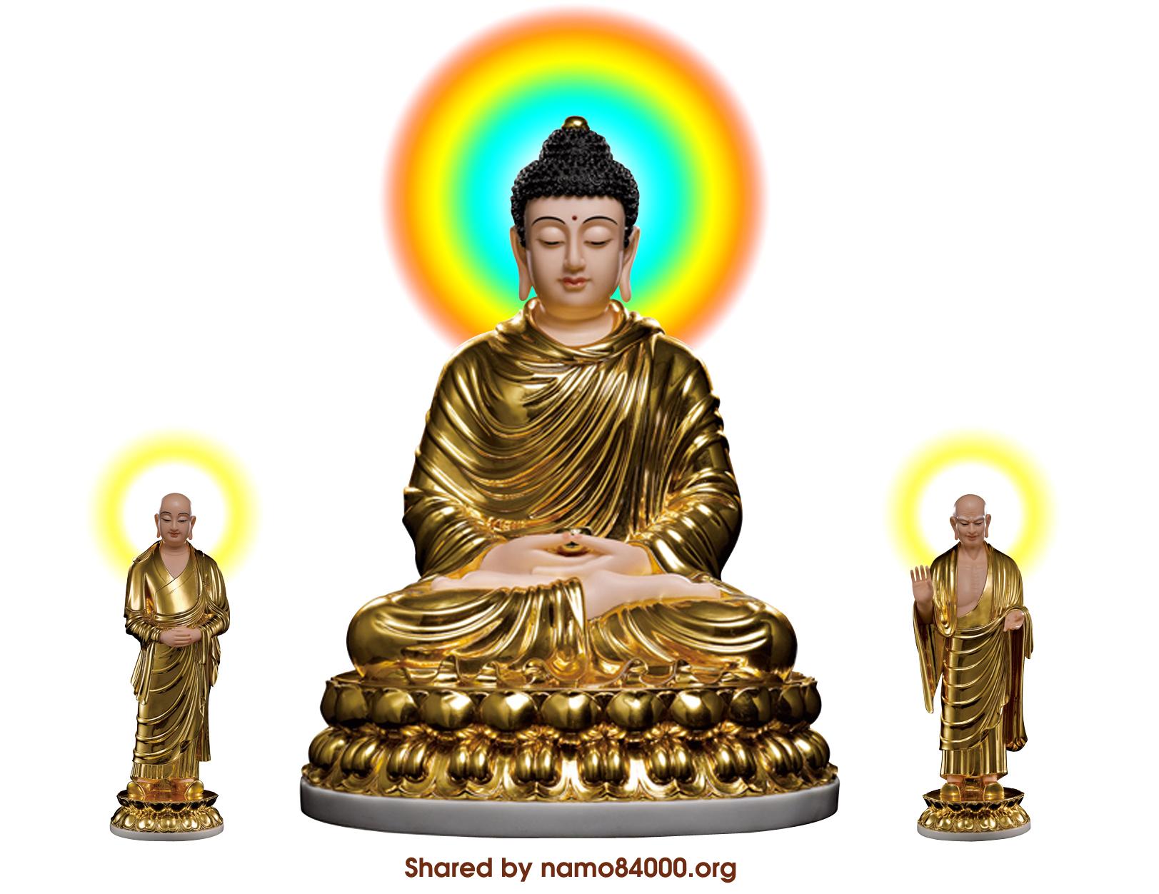 Tôn giả A Nan và Ca Diếp đứng cạnh Phật Thích Ca
