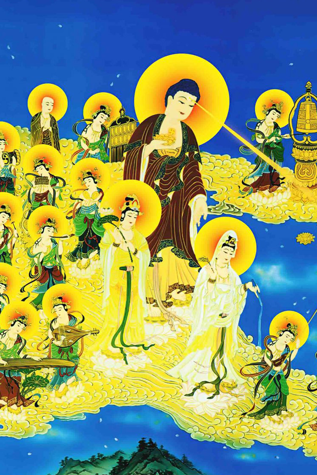 Tôn ảnh Tây Phương tiếp dẫn chất lượng cao | HD Images of Amitabha and his holy entourage coming to welcome and lead the pure land | 西方極樂世界