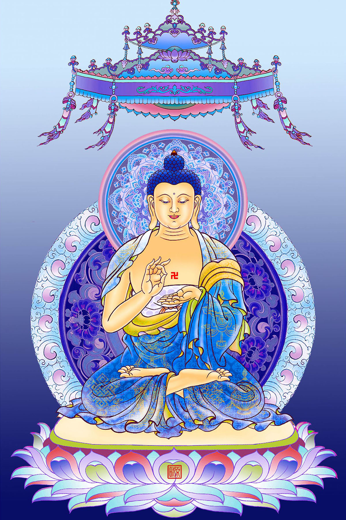 Tôn ảnh Ngũ Phương Phật chất lượng cao